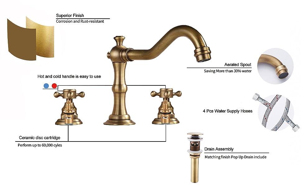 antique brass faucet widespread