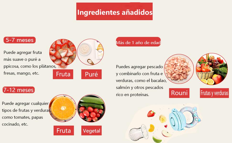3pcs Chupete Fruta Bebes S/M/L + 2pcs Cepillos Dedo + 3 Chupetes Silicona de Repuesto + 2 Cucharas Alimentador Regalos para Bebés (3pcs Patrones de ...