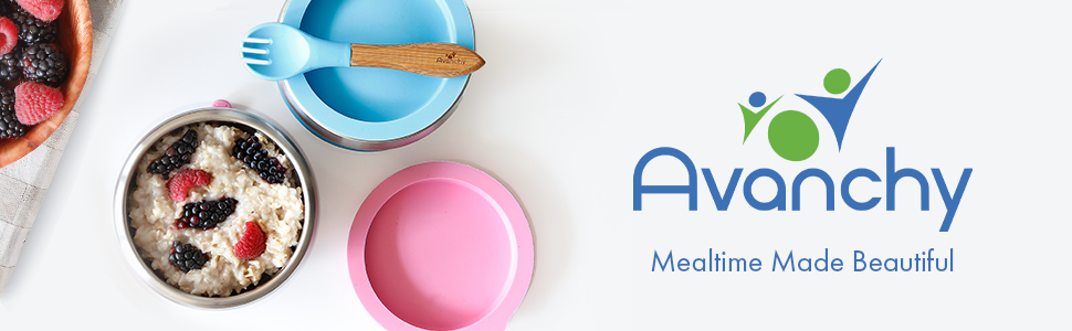 """Amazon.com : Avanchy Stainless Steel Suction Bowl - Stainless Steel Kids  Bowls - Suction Bowls with Lids - Silicon Suction - Stay Put Bowl - 3"""" x 5""""  (Blue) : Baby"""