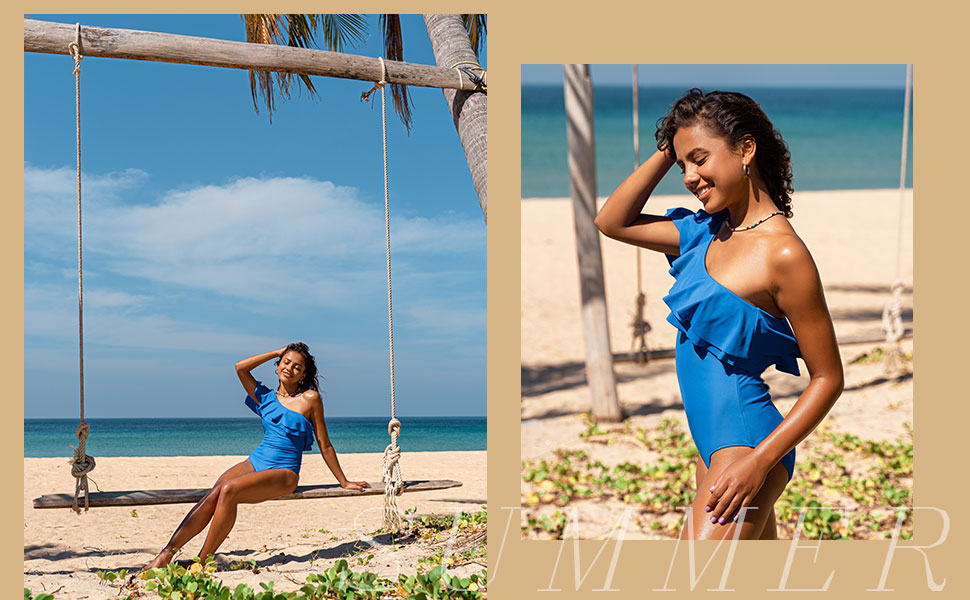 swimwear one shoulder swimsuit one piece bathing suits beachwear for women swimming clothes for lady