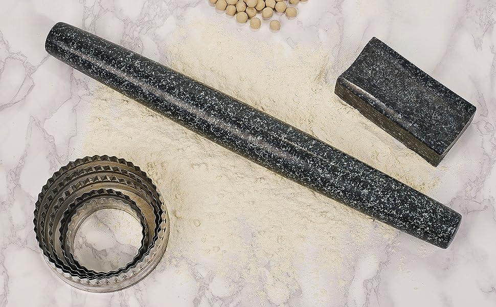 homiu granite rolling pin stand natural stone baking