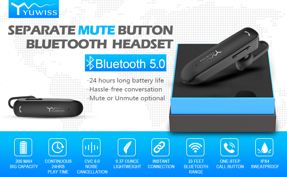 YUWISS Bluetooth Earpiece 24Hrs Playtime Wireless Headset for Cell Phones