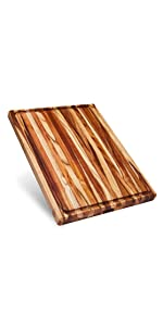 large teak wood cutting board with compartments