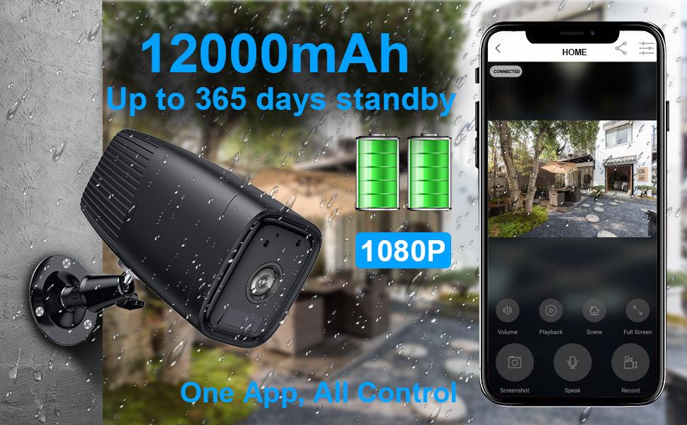 kablosuz şarj edilebilir pil güvenlik kamerası