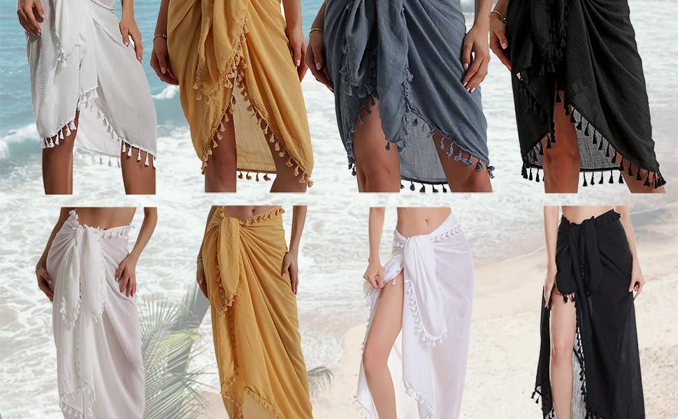 Ladies Vintage Design Scarf or Mini Short Length Sheer Chiffon Beach Sarong
