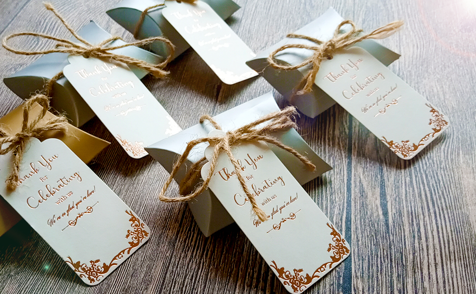 tags attached to wedding favors