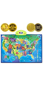 educational learning toy poster mat usa us map interactive quiz talking kids