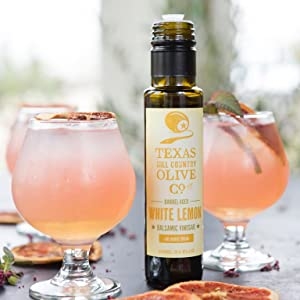 Texas Hill Country Olive Co flavored balsamic vinegar cocktail drink