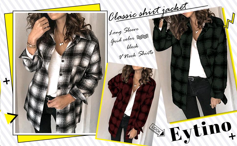 S-XXL Eytino Women Classic Plaid Button Shirts Roll Up Long Sleeve Pockets Casual Boyfriend Shirts Tops