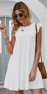 Summer Mini Dress Sleeveless Ruffle Sleeve Round Neck Solid Color Loose Fit Flowy Pleated Dress