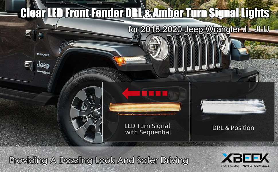 LED Fender Lights with Sequential Turn Signal and Side Maker Light for 2018-2020 Jeep Wrangler JL - Clear Lens