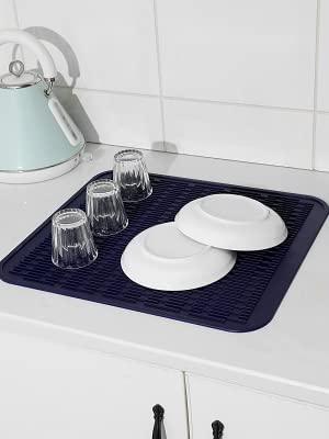 blue silicone dish drying mat