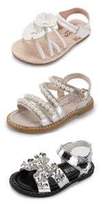 Girls Sandals Summer Soft Rubber Sole Pearl Flower Sweetheart Flat Shoes(Toddler/Little Kid…