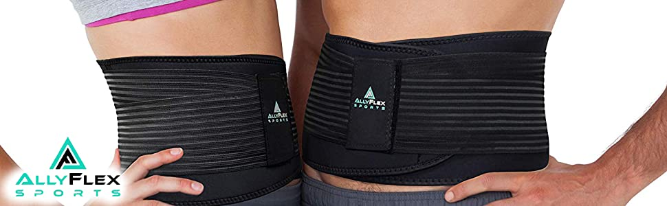 Male and Female wearing AllyFlex Adjustable Back Brace with Lumbar Support