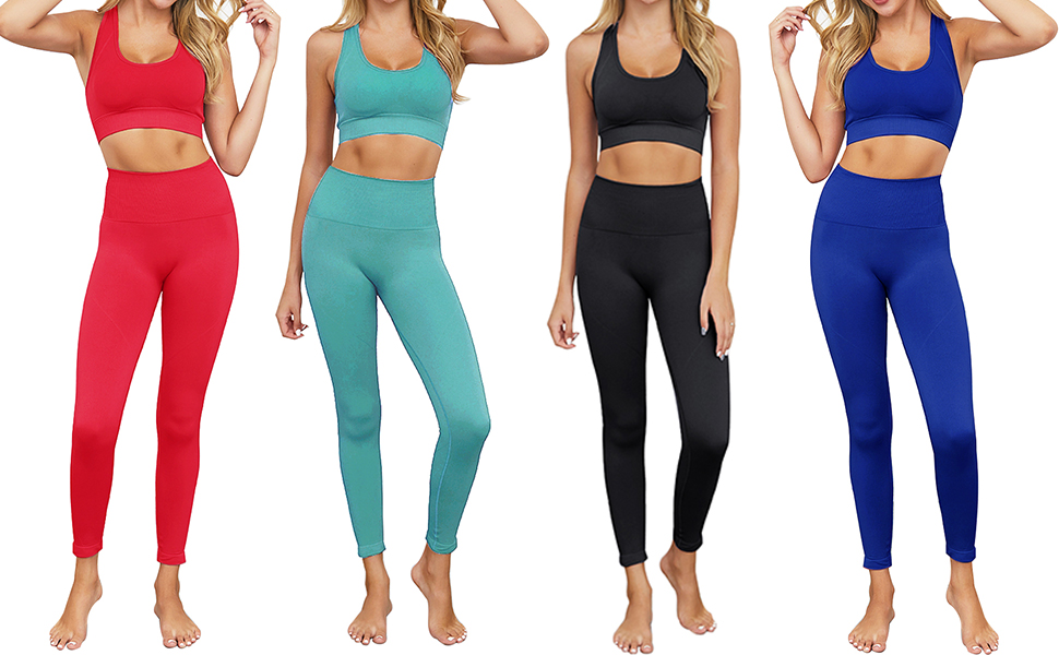 Amazon Com Bbmee Yoga Outfits For Women 2 Piece Set Workout High Waist Athletic Seamless Leggings And Sports Bra Set Gym Clothes Clothing