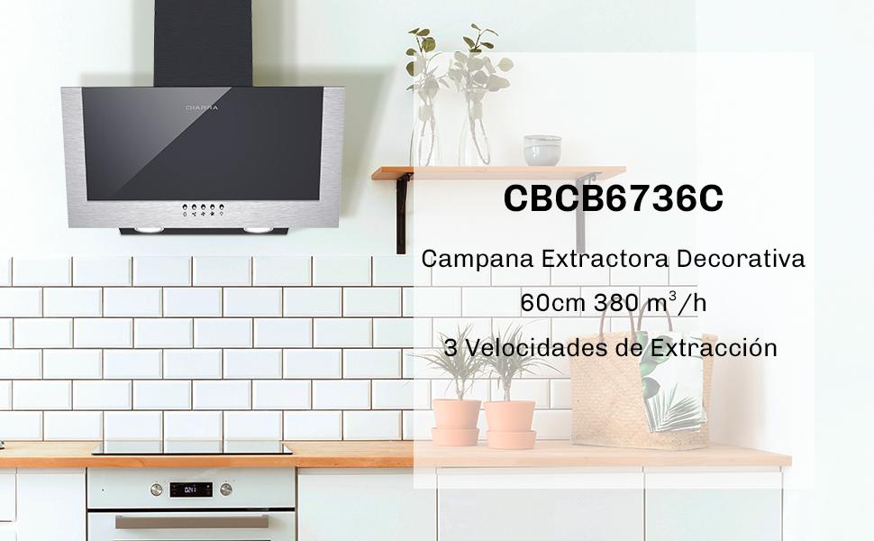 CIARRA CBCB6736C Campana Extractora Decorativa 60cm 380 m³/h - 3 Velocidades de Extracción - Evacuación al Exterior y Recirculación Interna por Filtro de Carbón CBCF002X2 - Cristal y Acero inoxidable: Amazon.es: Grandes electrodomésticos