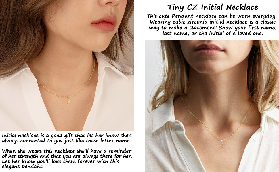 cz initial necklace for women