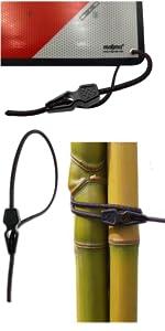 Kabelbinders met elastisch spankabel, krake voor bevestiging van het signaal V20.