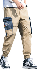 VANVENE Men's Casual Cargo Trousers Cotton Loose Jogging Pants Elastic Waist with Multi Big Pockets