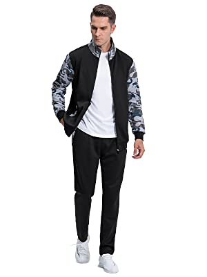 TACVASEN Men's Tracksuit Athletic Full Zip Casual Long Sleeve Jacket and Pants 2 Piece Set Running