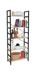 5 tier bookcase, wooden bookshelf,kitchen storage shelves
