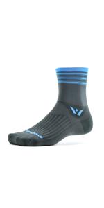 Swiftwick Aspire Four Gray Blue Stripes Socks