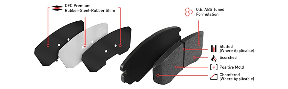 Amazon Com Front Set Dynamic Friction Company 5000 Advanced Brake Pads 1551 1844 00 Automotive