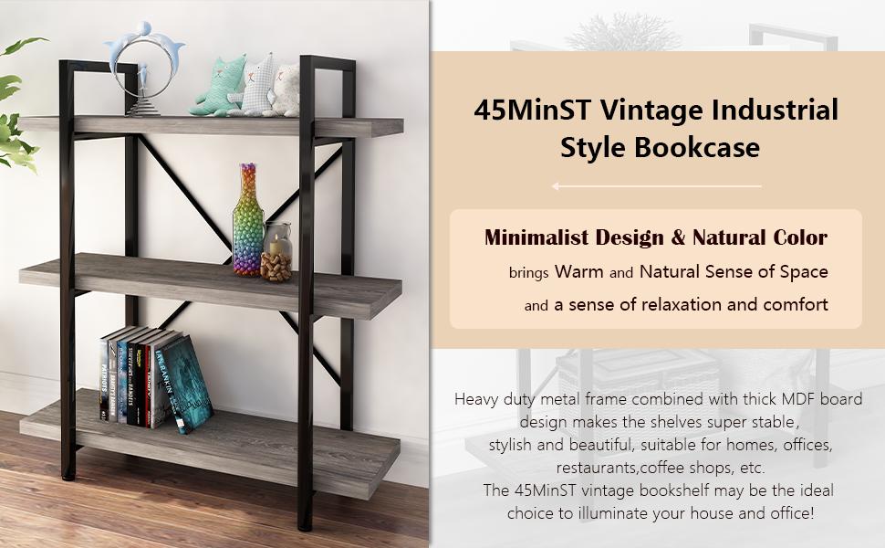 45MinST 3-Tier Vintage Industrial Style Bookcase,Gray Oak, 3/4/5 Tier