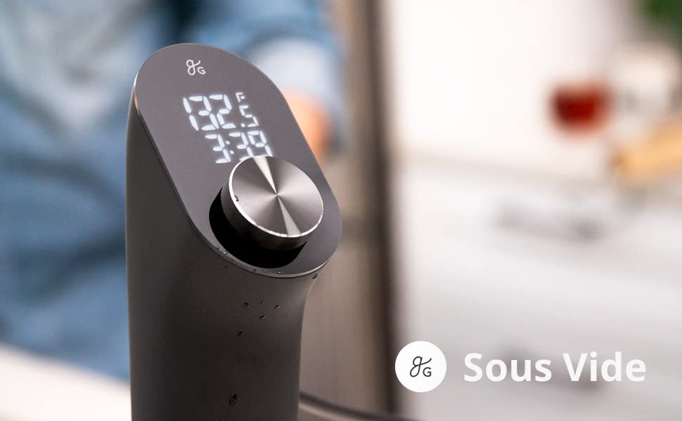 Greater Goods Sous Vide Precision Cooker, 1100 Watts, Silent Brushless Motor, Intuitive Controls