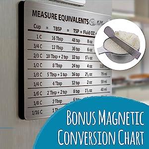 bonus magnetic conversion chart & leveler spoon
