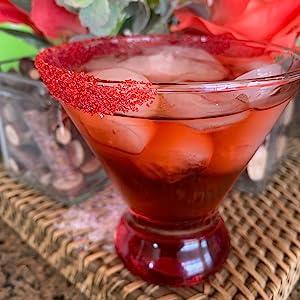 cocktail sugar, red sugar, cocktail rimming, margarita rimmer, cocktail garnish, bar supplies