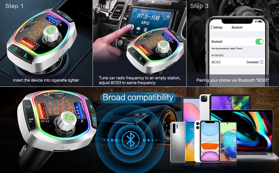 Wireless Bluetooth Car FM Radio Adapter Bluetooth 5.0 Music Player FM Car Kit