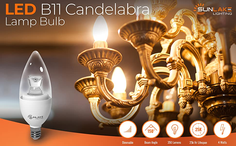 UL SunLake Lighting 4 Pack B11 LED Candelabra Light Bulb 5000K Daylight Chandelier PC Cover Candle Shape 4W=40W Great for Ceiling Fan E12 Base Dimmable 350 LM Energy Star