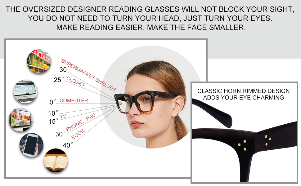 Large frame reading glasses for women trendy with designer metal decoration wide vision