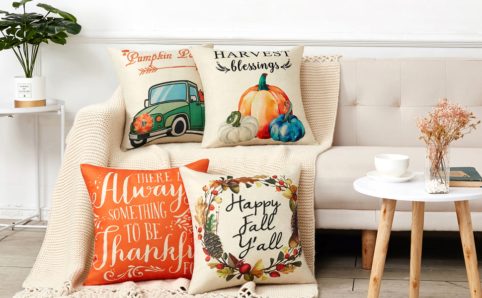 Anickal Set of 4 Thanksgiving Pillow Covers Harvest Blessings Pumpkin Patch Fall Autumn Farmhouse Decorative Throw Pillow Covers 18x18 Inch for Sofa ...