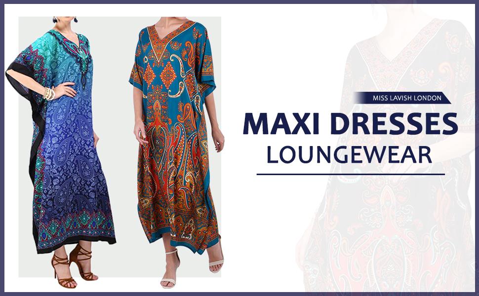 Miss Lavish London Kaftan Tunic One Size Cover Up Maxi Dresses Lougewear Embellished Kimono