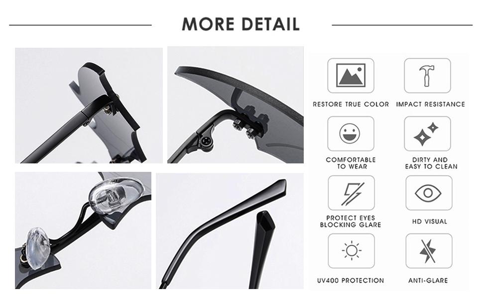 bat sunglasses details
