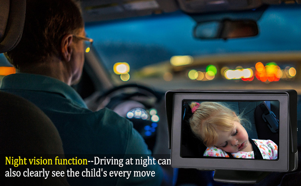 baby car mirror view infant in rear facing  baby camera car  backseat camera for baby - Baby-Mirror For-Car Back-Seat - Baby Car Camera With Night Vision, View Infant In Rear Facing Seat With 4.3-Inch HD Display, Observe The Baby's Every Move At Any Time While Driving
