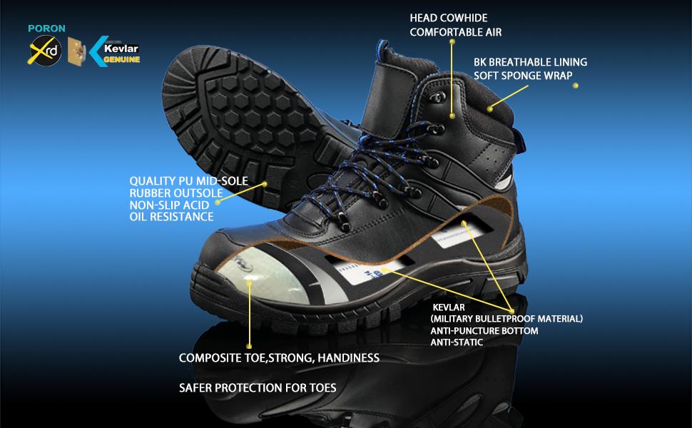 GLORYA Mens Work Boots, Composite Toe