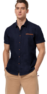 men jeans match shirt, Navy Blue
