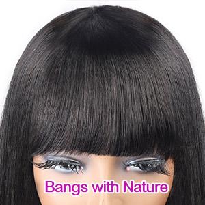 Human Hair Wigs with Bangs