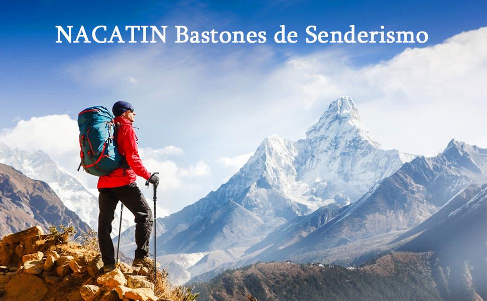 NACATIN 2pcs Bastones de Senderismo, Bastón Trekking Plegable 110 ...