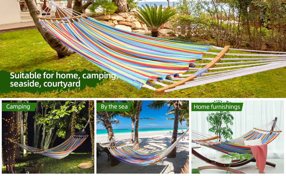 Double Hammock Swing Tree Straps Folding Bamboo Portable Hammock Patio Camping Travel Beach Backyard