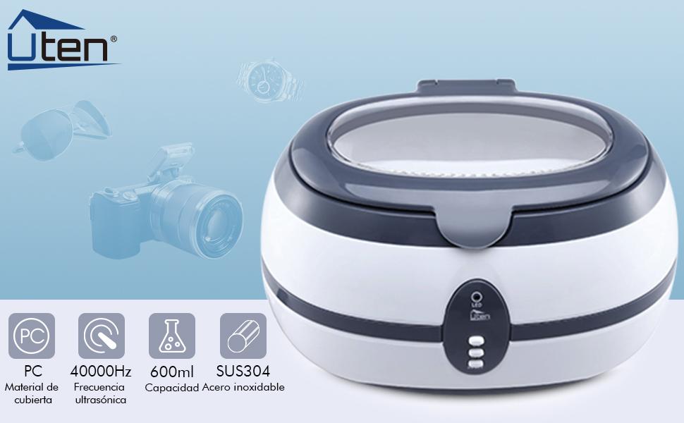 UTEN Limpiador Ultrasónico Profesional Acero inoxidable baño 40,000 Hz 35 W Dispositivo Lavadora por Ultrasonido con Reloj y Cesta de Limpieza Digital ...