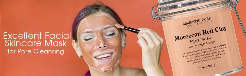 dotorea purua benetakoa Marokoko buztin gorri lokatza aurpegiko aurpegia maskara maskara onena premium poro aknea