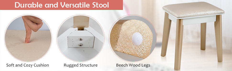Bedroom Makeup Dressing Table with Cushioned Stool