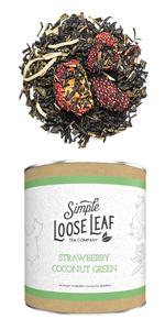 Strawberry Coconut Green - Premium Loose Leaf Green Tea (4 oz) - High Caffeine - Sweet and Fresh