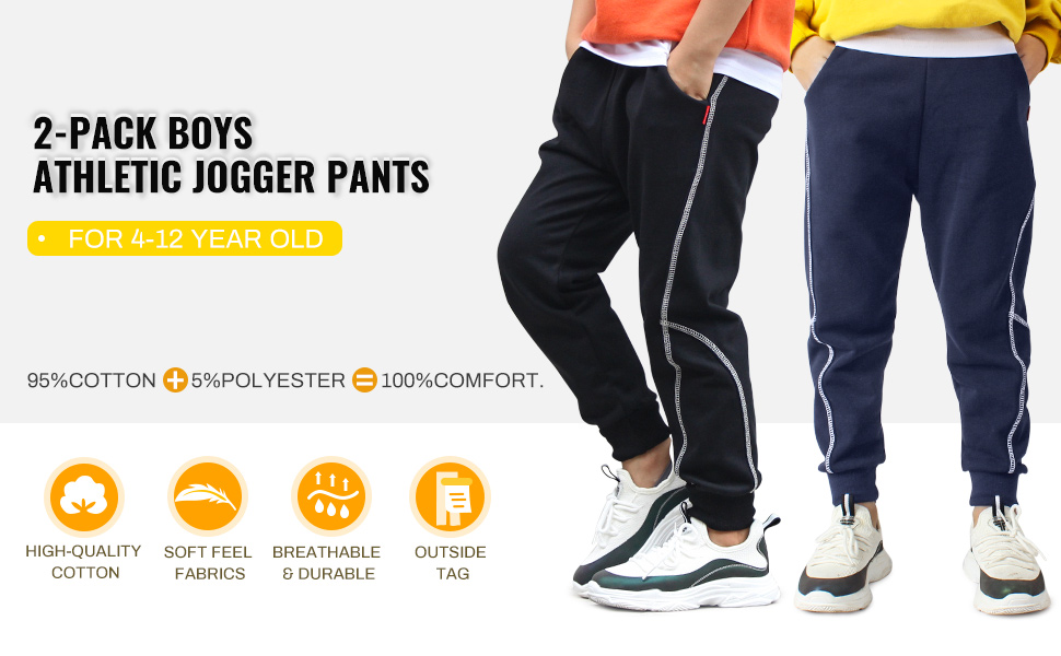 Age 4T-12 TERODACO 2 Pack Boys Cotton Sweatpants Kids Joggers Pants 4-12 Years