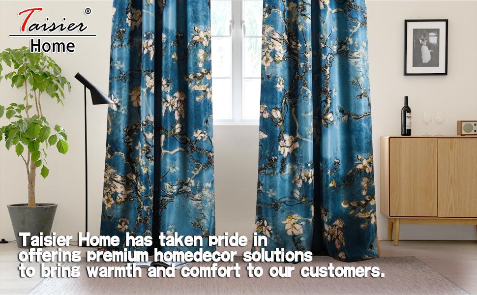 Blue curtains printed