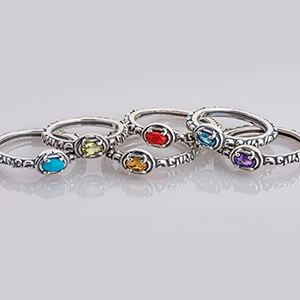 carolyn pollack sterling silver jewelry gemstone stackable rings filigree band coral topaz amethyst